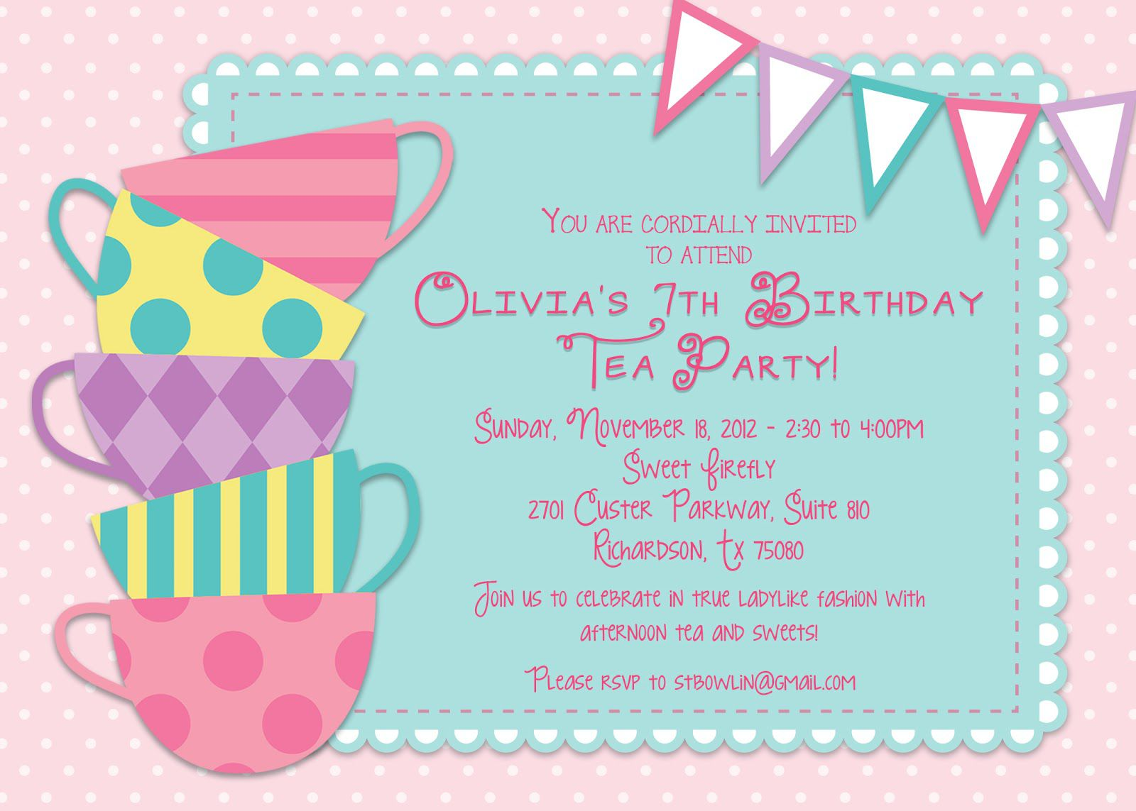Tea Party Birthday Invitations Template