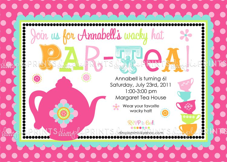 Tea Party Girl Invitations