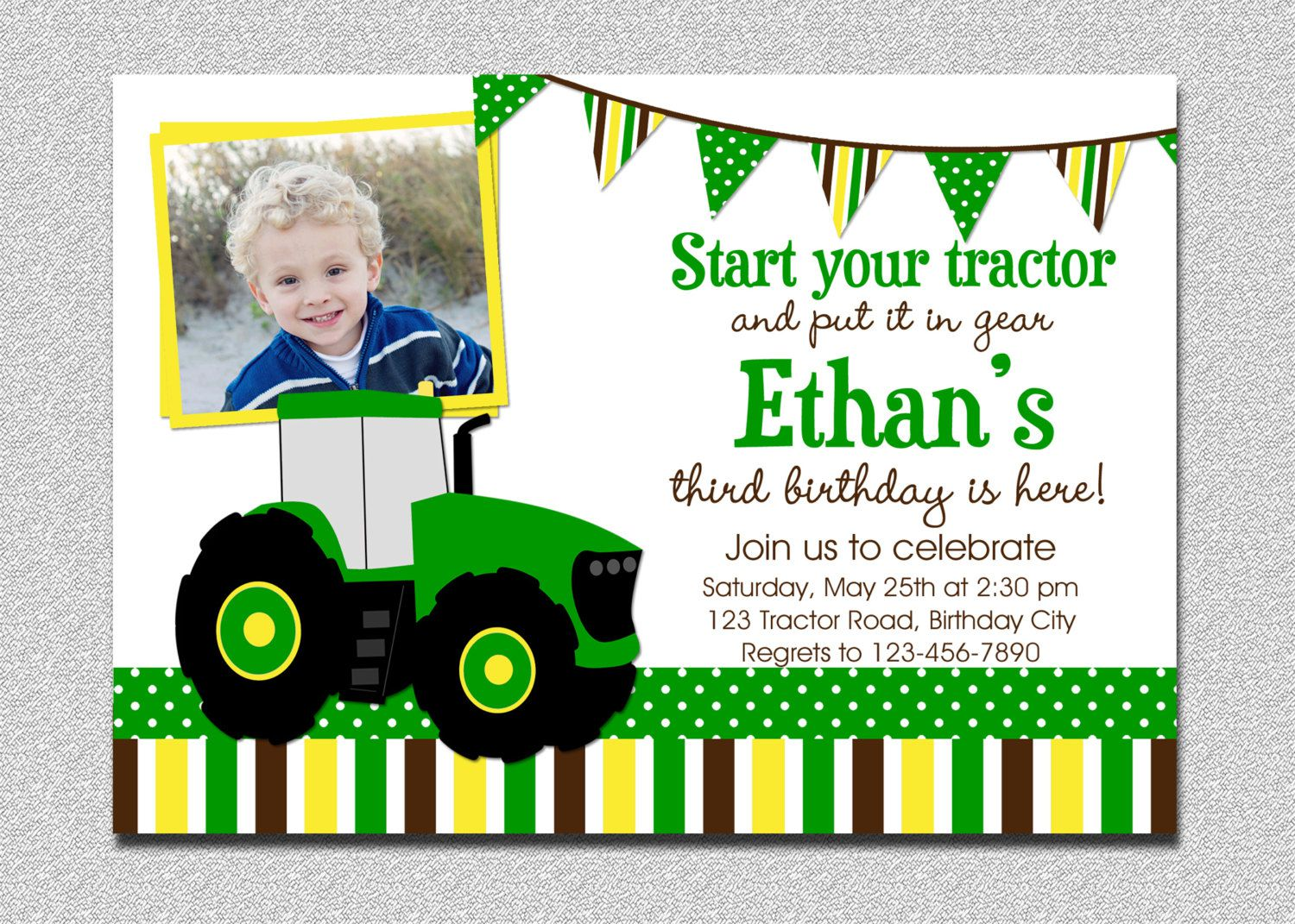 Tractor Birthday Invitations Etsy