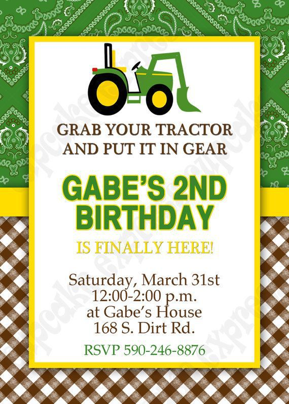 Tractor Birthday Invitations Free