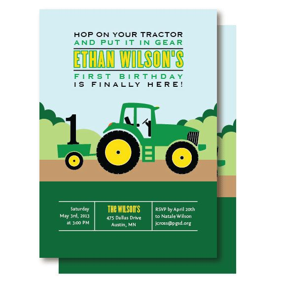 Tractor Birthday Invitations Photo