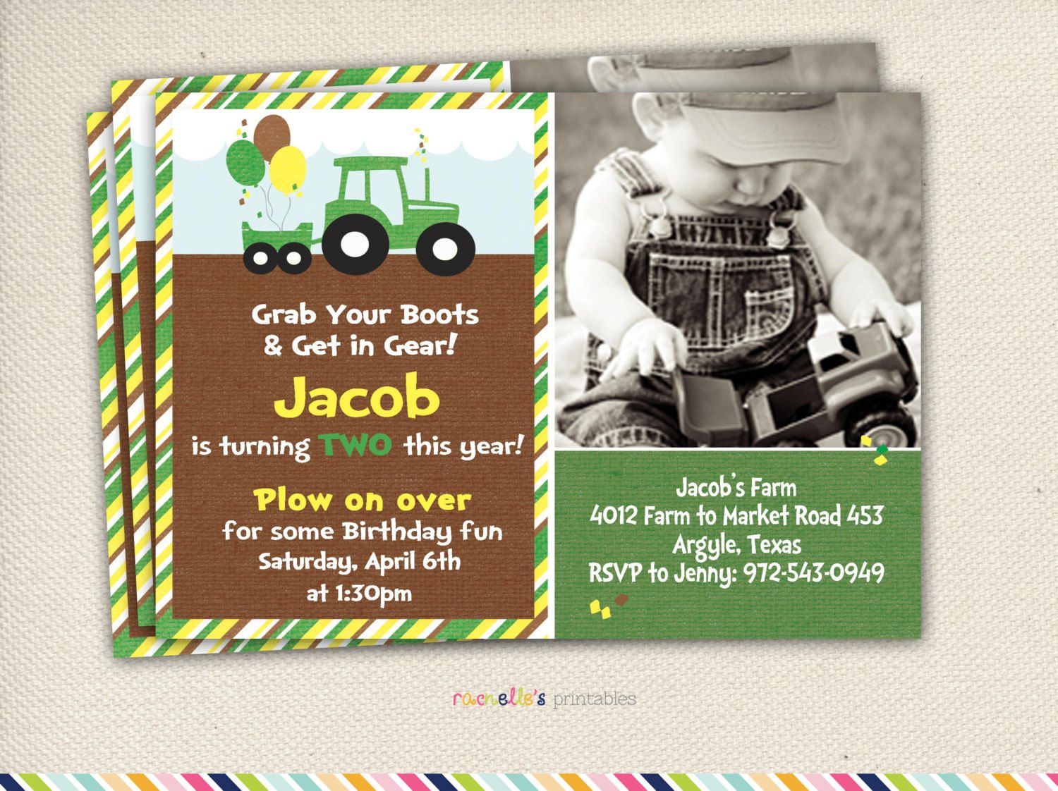 Tractor Birthday Invitations Uk
