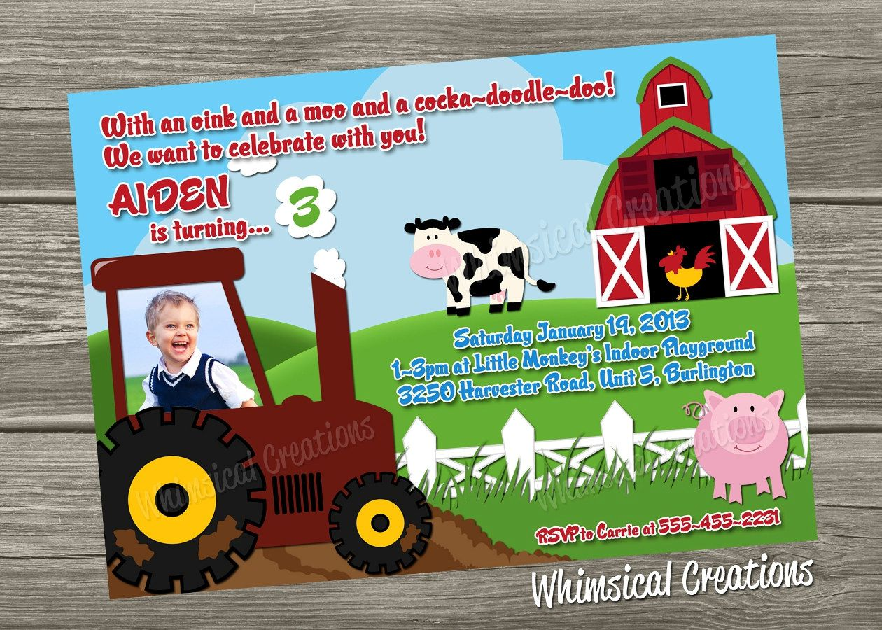 Tractor Themed Birthday Invitations