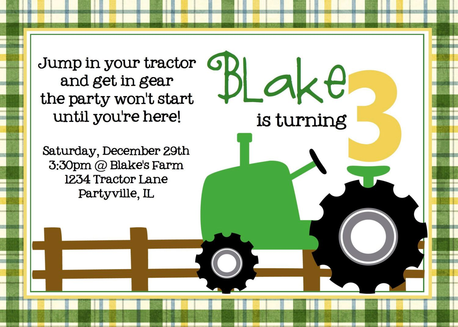 Truck And Tractor Birthday Invitations