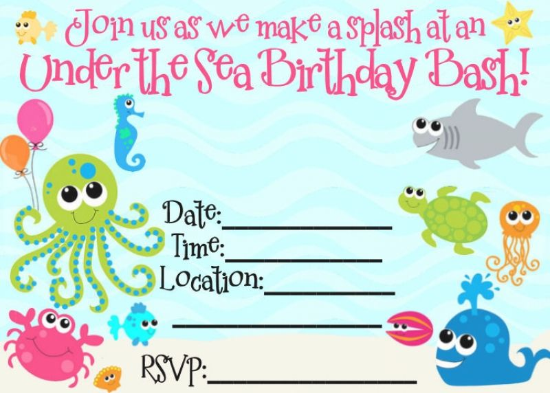 Under The Sea Birthday Invitation Wording Ideas
