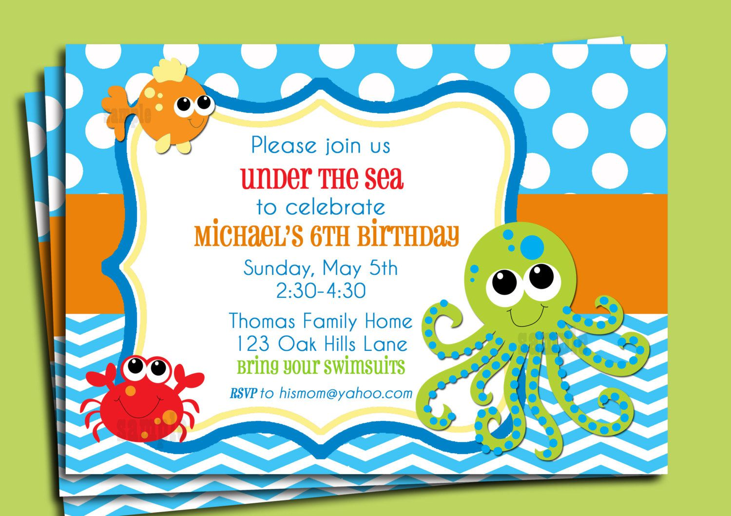 Under The Sea Birthday Invitations Pinterest