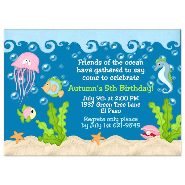 Under The Sea Birthday Invitations Templates