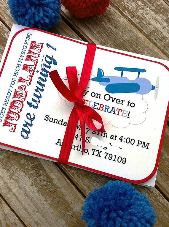 Vintage Airplane Birthday Invitations