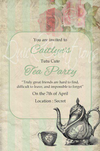 Child's Birthday Tea Party Invitations,children's Tea Party Birthday Invitation Wording,fancy Nancy Tea Party Birthday Invitations,floral Tea Party Birthday Invitations
