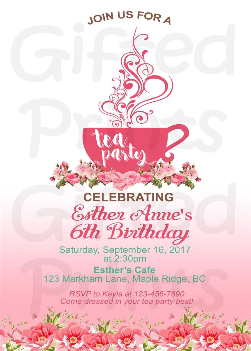 Tea Party Birthday Invitations,tea For Two Birthday Party Invitations,princess Tea Party Birthday Invitations,tea Party Birthday Invitation Wording
