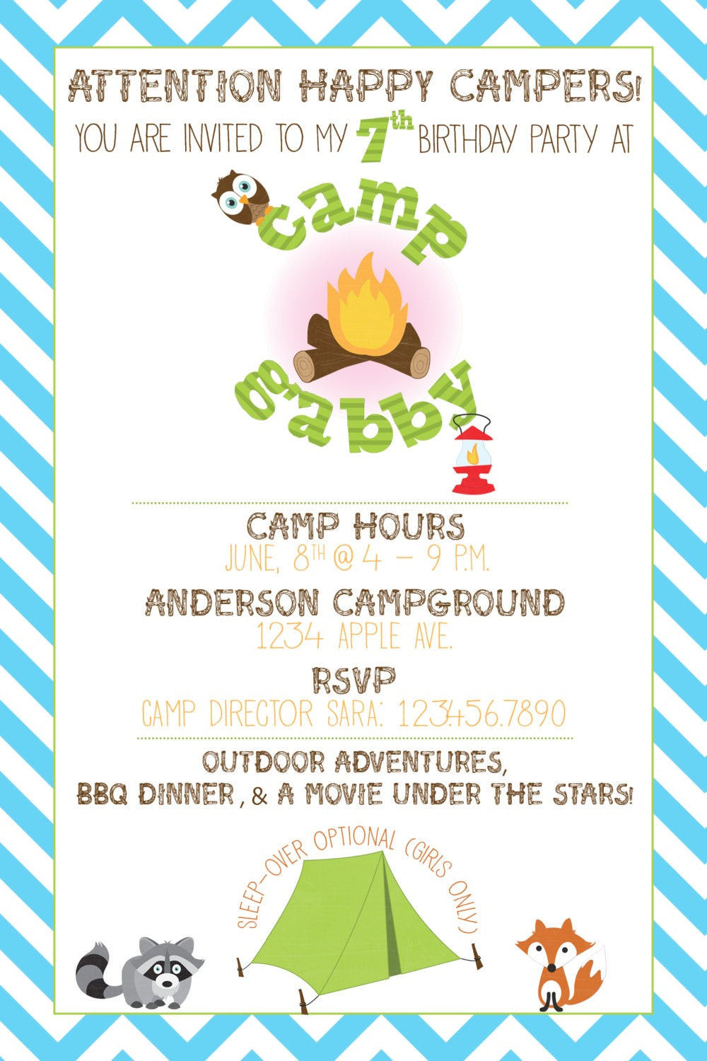 Camping Themed Birthday Invitations Beautiful Camping Theme Party Invitation Printable