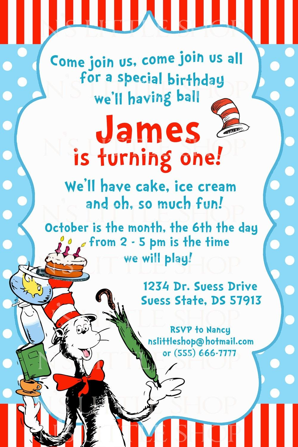 Dr Seuss Birthday Invitations Printable