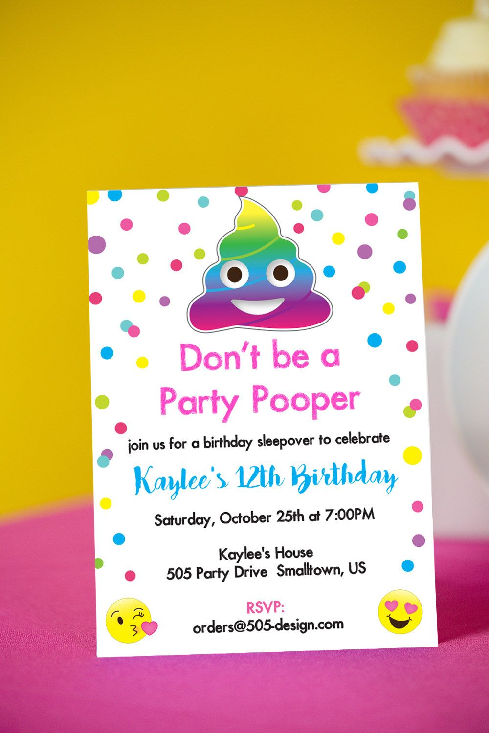 Emoji Party Pooper Invitation For Birthday Invitations