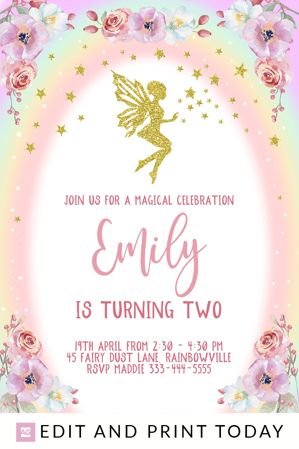 Fairy Birthday Invitation For Birthday Party