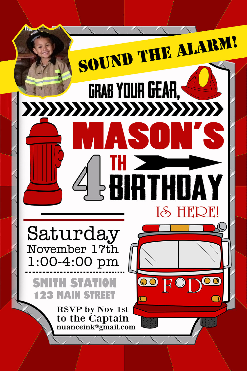 Firefighter Birthday Party Invitation Ideas
