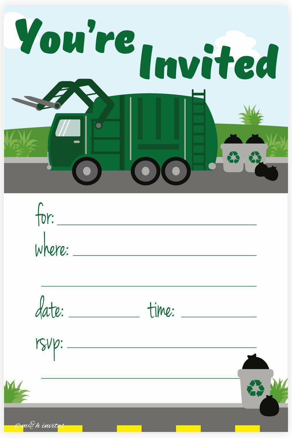 Garbage Truck Birthday Party Invitations Ideas