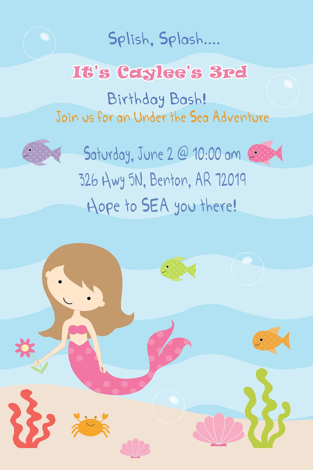 Mermaid Invitation Girl Birthday Party