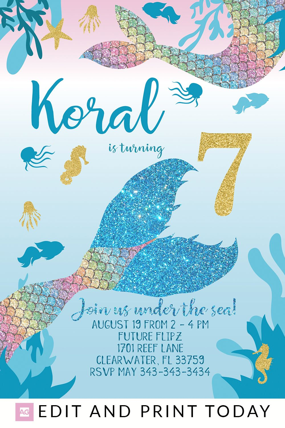 Mermaid Party Invitation For Birthday