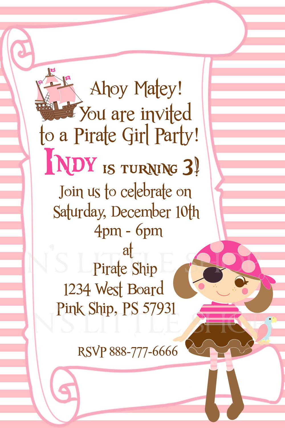 Pirate Girl Birthday Party Theme Invitation
