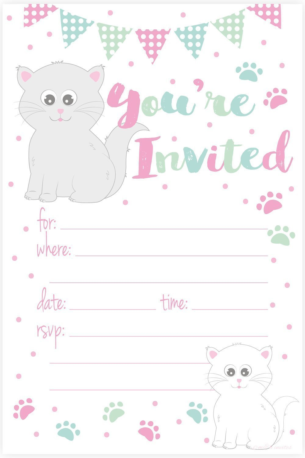 Printable Cat Birthday Party Invitations