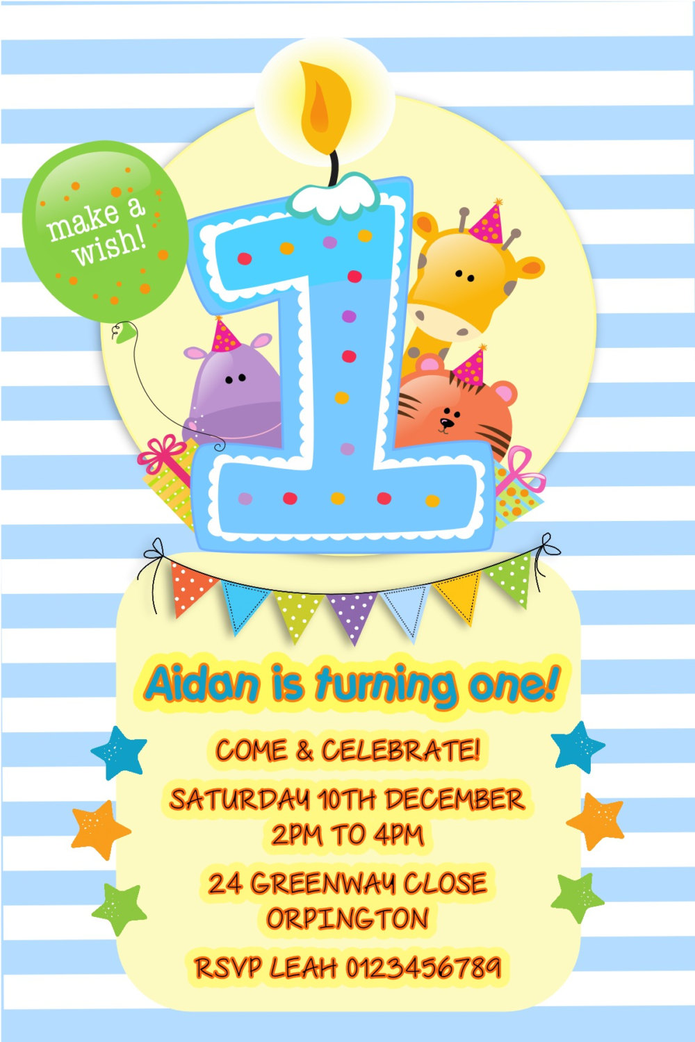Printed Personalised 1st Birthday Party Invitations