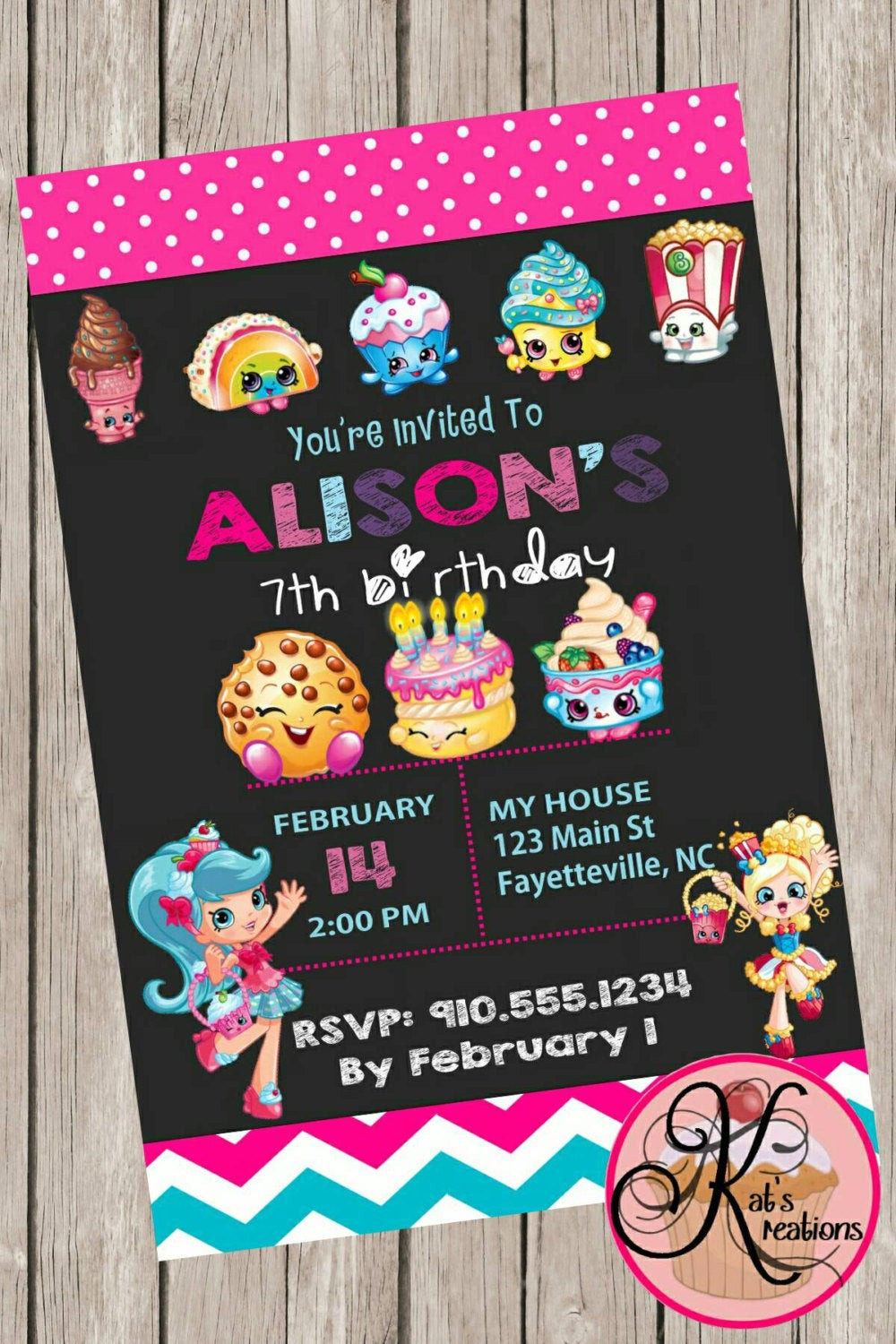 Shopkins Birthday Party Invitations Fresh Shopkins Birthday Party Printable Invitation By KatsKreations3