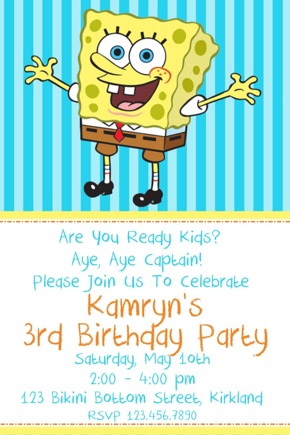 Spongebob Birthday Invitations Beautiful Kitchen & Dining