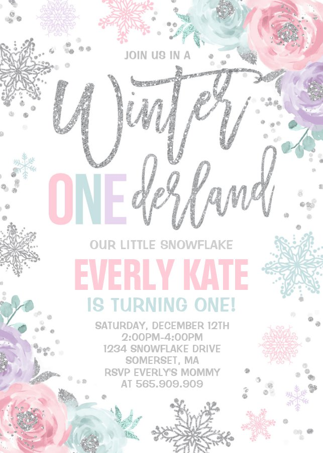 Winter Onederland Birthday Party Invitation Pink Silver