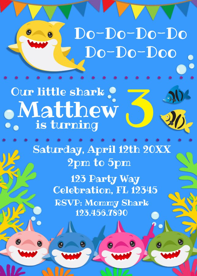 Blue Shark Family Birthday Invitation