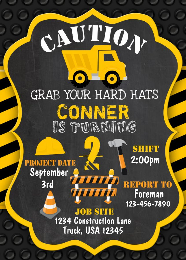 Construction Birthday Invitation Dump Truck
