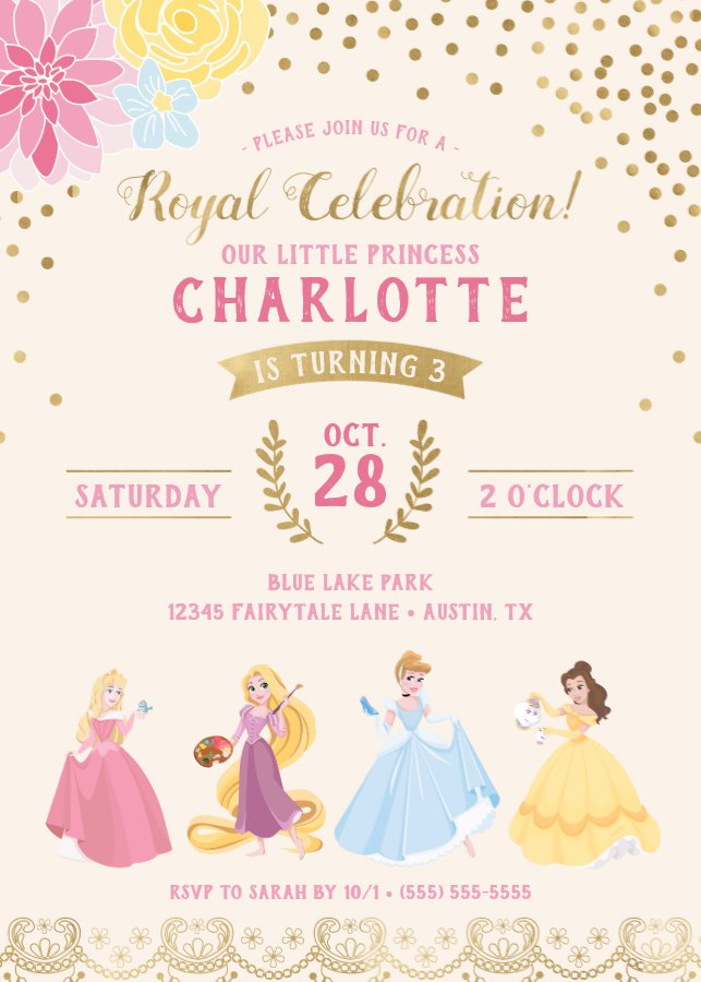 Disney Princess Floral Gold Confetti Invitation