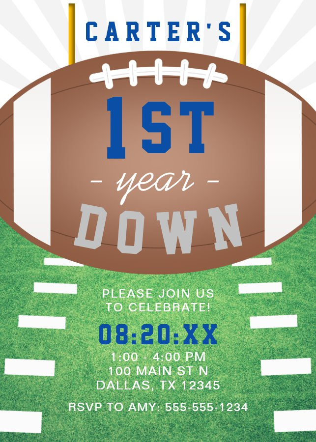 First Year Down Football Theme 1st Birthday Party Invitation