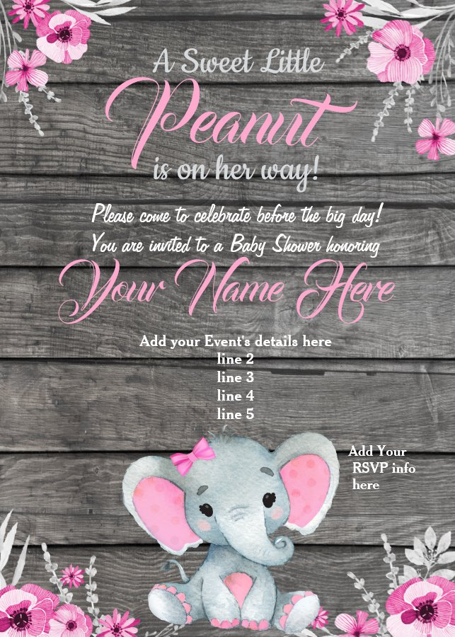 Girl Elephant Baby Shower Invitation Rustic Pink Invitation