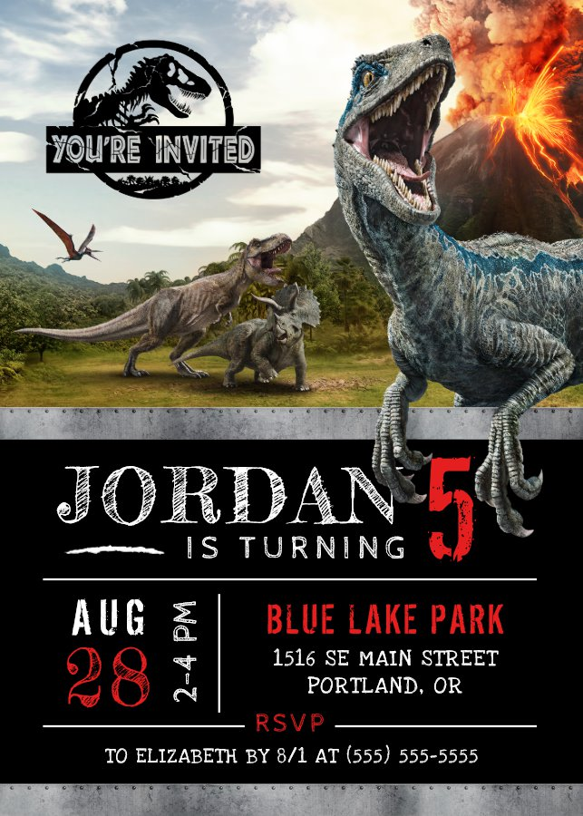 Jurassic World Dinosaur Birthday Invitation