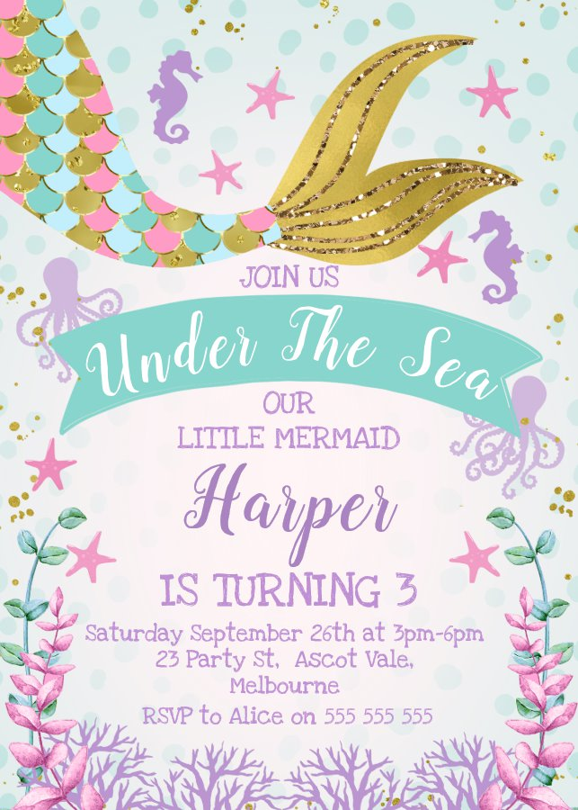 Mermaid Or Under The Sea Birthday Invitation