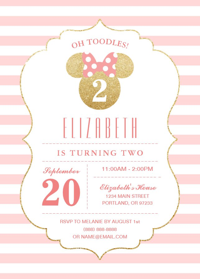 Minnie Mouse Gold Pink Striped Birthday Invitation