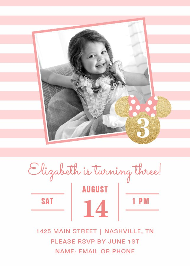 Minnie Mouse Gold Pink Striped Photo Birthday Invitation