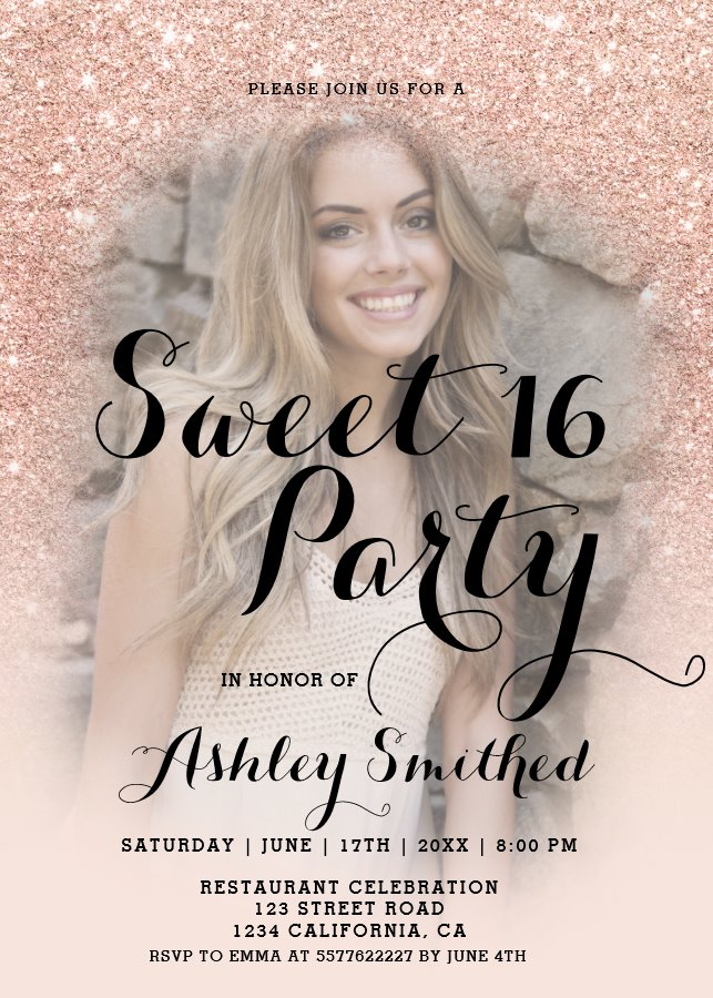 Modern Faux Rose Gold Glitter Ombre Photo Sweet 16 Invitation