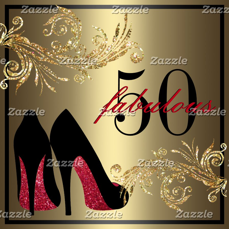 Red Dancing Shoes Fabulous 50th Birthday Invitation