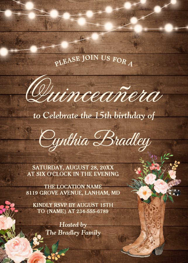 Rustic Boots Cowgirl Quinceanera 15th Birthday Invitation