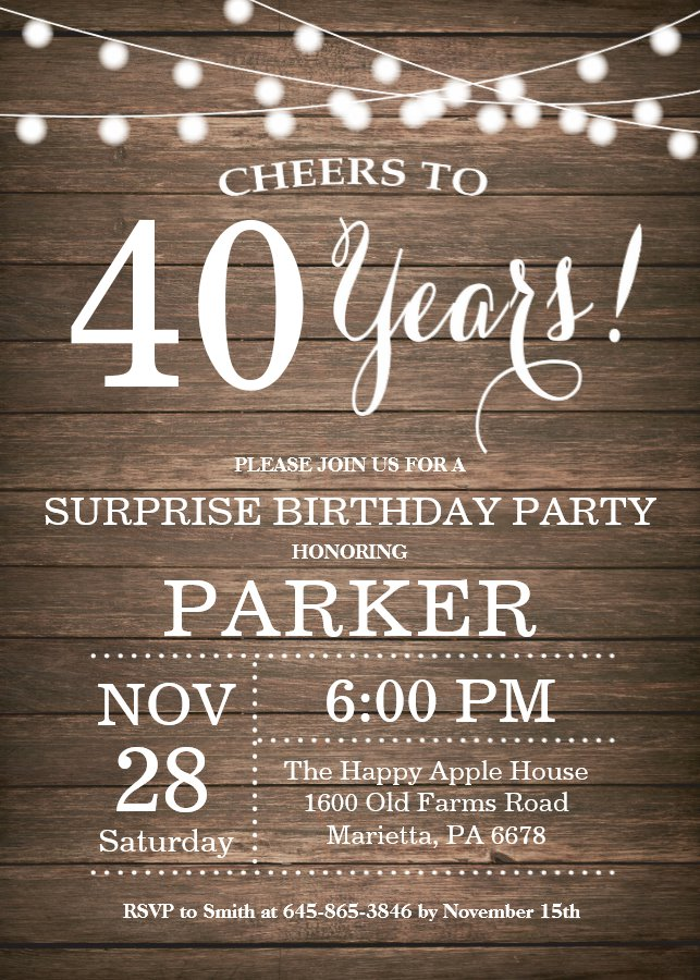 Rustic Surprise 40th Birthday Invitation Wood
