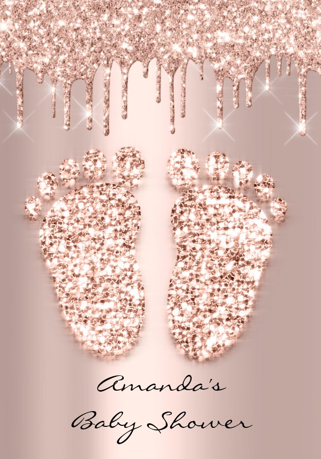 Spark Glitter Drips Rose Gold Baby Shower Feet Invitation
