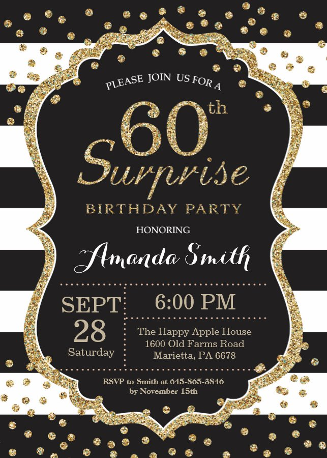 Surprise 60th Birthday Invitation Gold Glitter Invitation