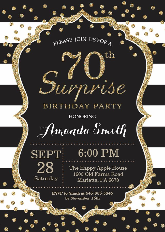 Surprise 70th Birthday Invitation Gold Glitter Invitation