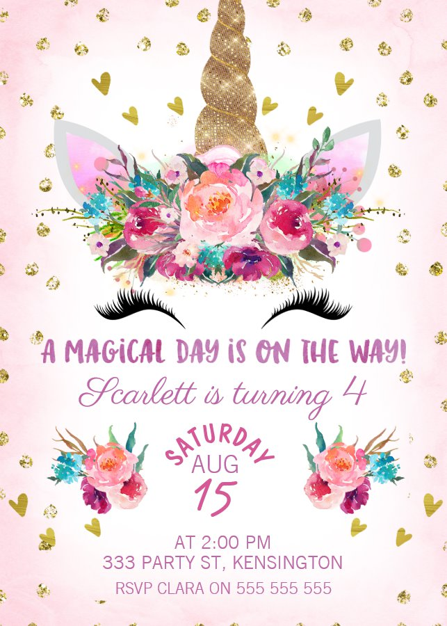 Unicorn Face Floral Birthday Invitation