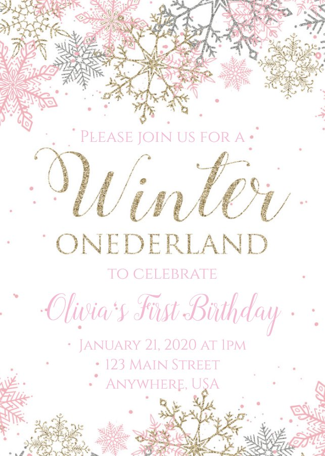 Winter Onederland First Birthday Invitation